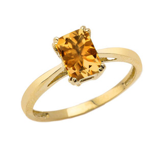 1 CT Emerald Cut Citrine CZ Solitaire Ring in Yellow Gold