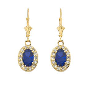 Diamond and Sapphire Oval Pendant Necklace and Earrings Set in Yellow Gold