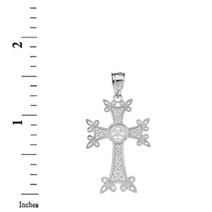 Armenian Apostolic Trinity Knot Cross Pendant Necklace in Gold (Yellow/Rose/White)