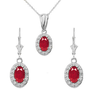 Diamond and Ruby Oval Pendant Necklace and Earrings Set in 14k White   Gold