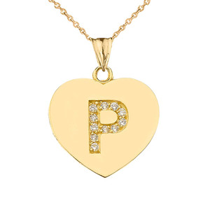 "Diamond Initial ""P"" Heart Pendant Necklace in Yellow Gold"