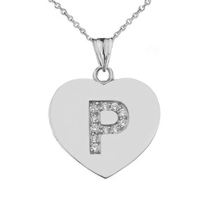 """CZ Initial """"P"""" Heart Pendant Necklace in Sterling Silver"""