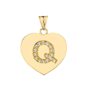 "Diamond Initial ""Q"" Heart Pendant Necklace in Yellow Gold"