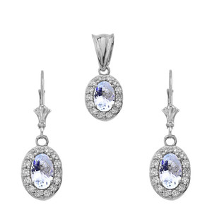 Diamond and Aquamarine Oval Pendant Necklace and Earrings Set in 14k WhiteGold