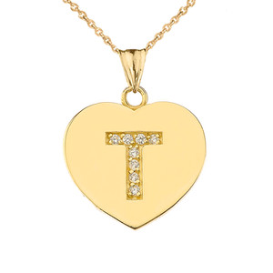 "Diamond Initial ""T"" Heart Pendant Necklace in Yellow Gold"
