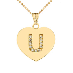 "Diamond Initial ""U"" Heart Pendant Necklace in Yellow Gold"