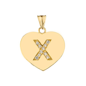"Diamond Initial ""X"" Heart Pendant Necklace in Yellow Gold"