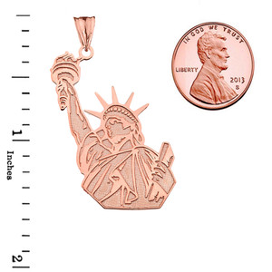Detailed Statue of Liberty Pendant Necklace in Rose Gold