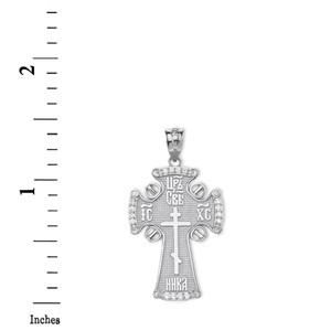 Diamond ICXC NIKA Eastern Orthodox Cross Pendant Necklace in Gold (Yellow/Rose/White)