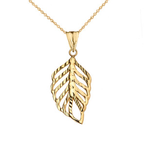 Designer Sparkle Cut Leaf Pendant Necklace in Yellow Gold