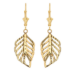 Designer Sparkle Cut Leaf Earrings in Yellow Gold
