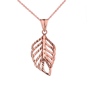 Designer Sparkle Cut Leaf Pendant Necklace in Rose Gold