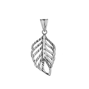 Designer Sparkle Cut Leaf Pendant Necklace in White Gold