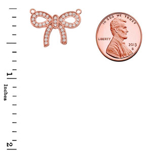14K Diamond Bow Tie Pendant Necklace in Rose Gold