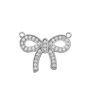 14K Diamond Bow Tie Pendant Necklace in White Gold