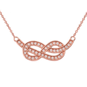14K Diamond Infinity Knot Pendant Necklace in Rose Gold
