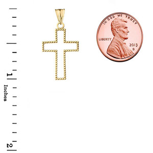 "Two Sided Beaded Open Cross Pendant Necklace in Yellow Gold (1.2"")"
