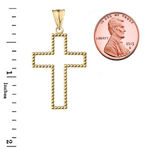 """Two Sided Beaded Open Cross Pendant Necklace in Yellow Gold (1.5"""")"""