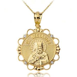 Solid Yellow Gold Diamond Saint Nectarios of Aegina Circle Pendant Necklace
