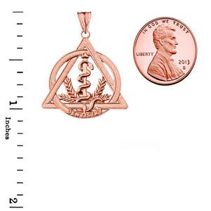 Dentistry Symbol Pendant Necklace in Rose Gold