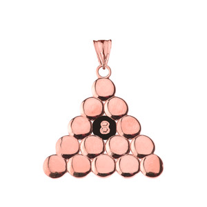 8 Ball Pool Pendant Necklace in Rose Gold