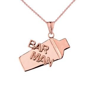 Cocktail Shaker Bar Man Pendant Necklace in Rose Gold