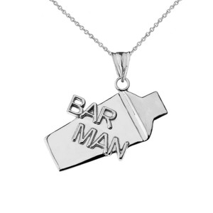 Cocktail Shaker Bar Man Pendant Necklace in Sterling Silver