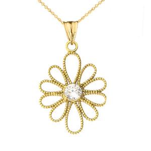 Designer Milgrain Flower Pendant Necklace in Yellow Gold