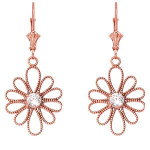 14K Designer Milgrain Flower Earrings in Rose Gold
