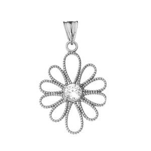 Designer Milgrain Flower Pendant Necklace in White Gold