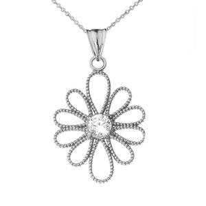 14K Designer Milgrain Flower Pendant Necklace Set in White Gold