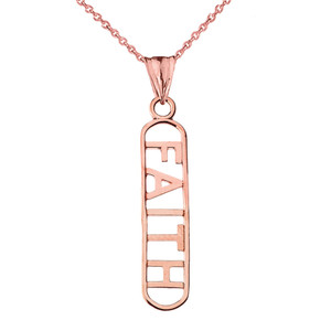 """FAITH"" Pendant Necklace in Rose Gold"