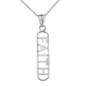"""""""FAITH"""" Pendant Necklace in White Gold"""