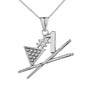 #1 Billiards Player Pendant Necklace in White Gold