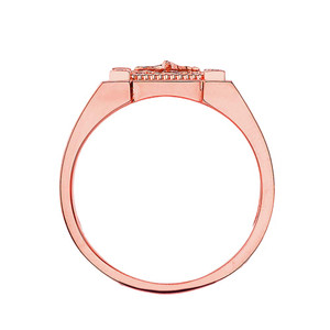 Mens Cross Ring in Solid Rose Gold