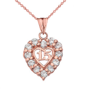 """15 Años"" Quinceañera Heart Pendant Necklace in Rose Gold"