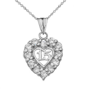 """15 Años"" Quinceañera Heart Pendant Necklace in Sterling Silver"