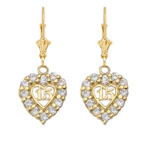 """""""15 Años"""" Quinceañera Heart Earrings in Yellow Gold"""