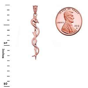 Asclepius Medicine Symbol Pendant Necklace in Rose Gold