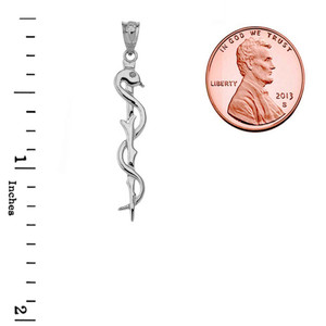 Asclepius Medicine Symbol Pendant Necklace in White Gold