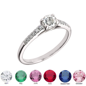 Genuine Diamond and Round Shape Personalized Birthstone Ring in Sterling Silver