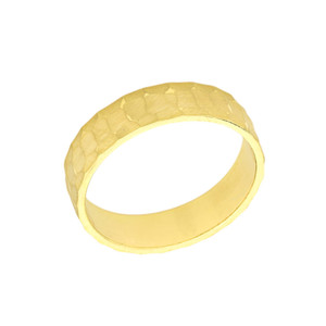 Solid Yellow Gold Hammered 5 Millimeter Wedding Band
