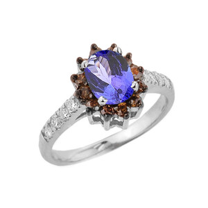 Coffee Genuine Diamond and Genuine Tanzanite Ring In Sterling Silver