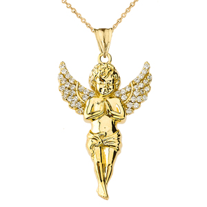 Angel Pendant Necklace in Yellow Gold