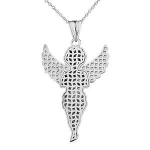 Diamond Angel Pendant Necklace in White Gold