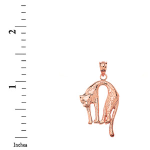 Solid Rose Gold Arched Cheetah Pendant Necklace