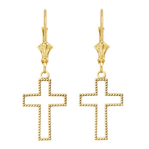 Two Sided Beaded Open Cross Earrings in Yellow Gold