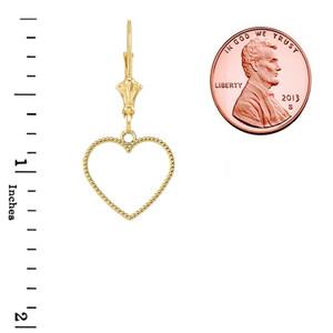 Two Sided Beaded Open Heart Earrings in Yellow Gold