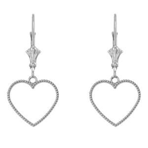 Two Sided Beaded Open Heart Earrings in Sterling Silver