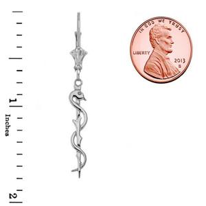 Asclepius Medicine Symbol Earrings in 14K White Gold